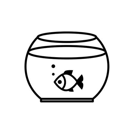 ichthyology: Fish swimming in a fish bowl vector icon. Aaquarium fish symbol isolated.