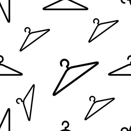 clothes hangers: Fashion modern seamless pattern with clothes hangers isolated on white. Vector rack background. Illustration