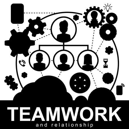 ceo: Team management organizational structure. Company CEO and his team hierarchy in flat design style. Teamwork concept for web banners, sites, printed materials, infographics. Illustration