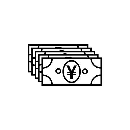 Japanese Yen or Chinese Yuan currency symbol flat icon for apps and websites