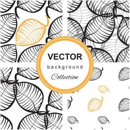 repeat texture: Neutral seamless organic pattern of hand-drawn stylized leaves. Decorative template repeat texture for web, wrapping,