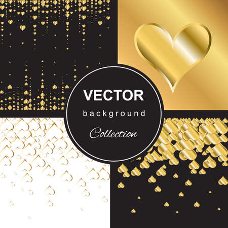 shiny hearts: Trendy shiny golden falling hearts on black background collection Illustration