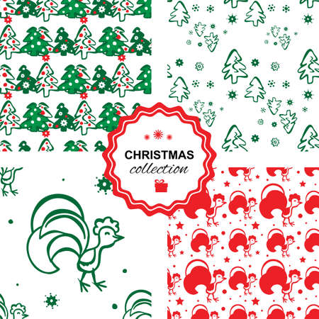 hristmas: Colorful seamless pattern background with roosters and hristmas trees. Symbol of 2017 year. Oriental happy new year illustration. Illustration