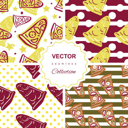 salami: Seamless pattern collection of italian pizza with salami, pepperoni, basil and tomatoes on striped background in pop art style Illustration