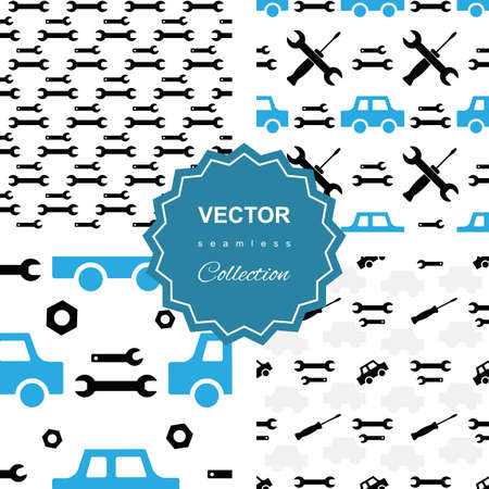 hatchback: Auto service seamless or car repair seamless pattern collection. Kids background set with automobiles