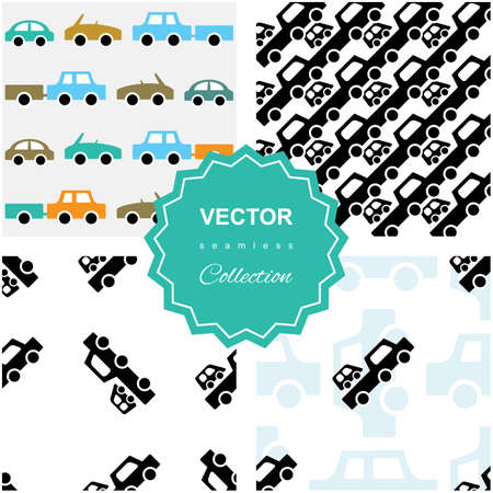 hatchback: Auto service  or car repair pattern collection. Kids background set with automobiles