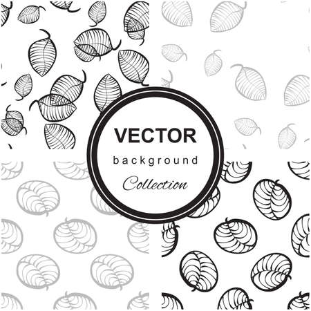 repeat texture: Neutral  organic pattern of hand-drawn stylized leaves. Decorative template repeat texture for web, wrapping,