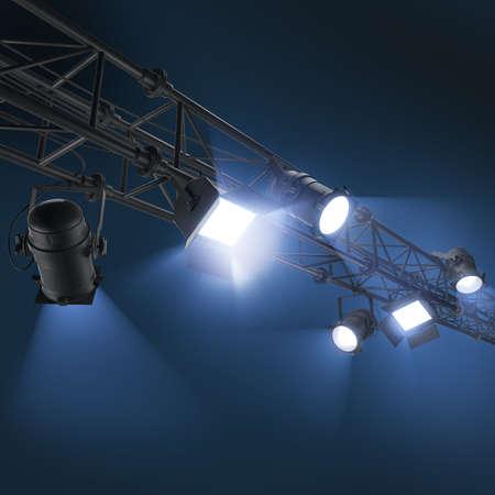 3d lighting spotlights, hanging floodlight or soffits on dark blue background Stock Photo