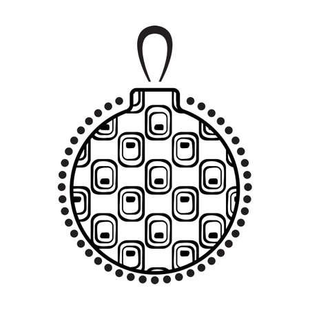 Boule De Noël En Noir Et Blanc Icône Avec Motif Abstrait Isolé Sur Fond Blanc