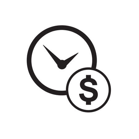 dollar icon: Time is money business metaphor icon. Clock and dollar symbol isolated on white background. Illustration