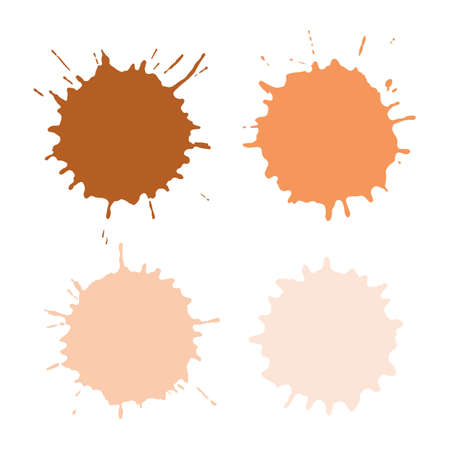 Colored blots or spots in beige, flesh color isolated on white background