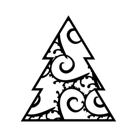 Simple Black Christmas Tree Icon With Abstract Pattern Isolated On White Background Vector Illustration