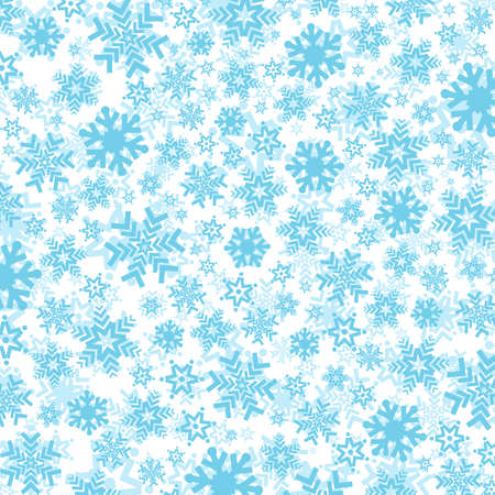 Bright blue background with snowflakes. Vector snowfall winter pattern. Snow falling illustration for Christmas design 向量圖像