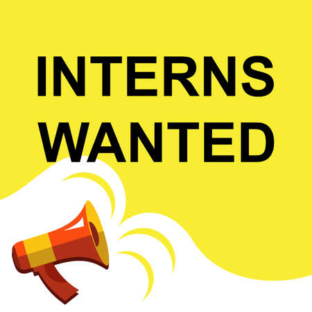 hiring practices: Flat illustration of megaphone with announce on the bubble speech INTERNS WANTED. Loudspeaker vector symbol with text template. Illustration