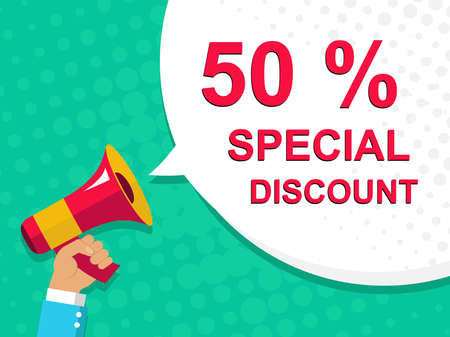 alerts: Flat illustration of megaphone with announce on the bubble speech 50 PERCENT SPECIAL DISCOUNT. Loudspeaker vector symbol with text template. Pop art background