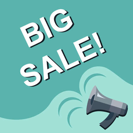 harbinger: Flat illustration of megaphone with announce on the bubble speech BIG SALE. Loudspeaker vector symbol with text template. Spread news