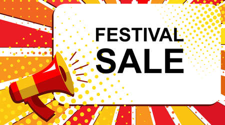 junket: Pop art sale background with megaphone and FESTIVAL SALE announcement. Loudspeaker vector banner in flat style. Illustration