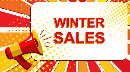 Pop art sale background with megaphone and WINTER SALES announcement. Loudspeaker vector banner in flat style.