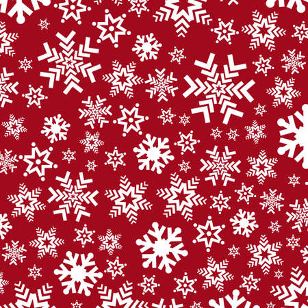 snowfall: Bright red background with snowflakes. Vector snowfall winter pattern. Snow falling illustration for Christmas design
