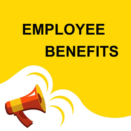Flat illustration of megaphone with announce on the bubble speech EMPLOYEE BENEFITS. Loudspeaker vector symbol with text template.