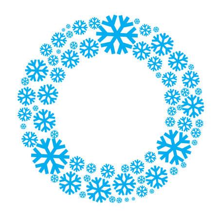 눈송이 벡터 화환 절연입니다. 스노우 플레이크 원 프레임. 라운드 겨울 배경입니다.