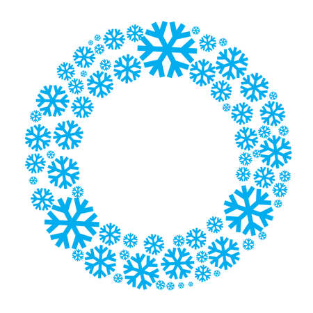 Snowflake vector wreath isolated. Snow flake circle frame. Round winter background. Ilustração