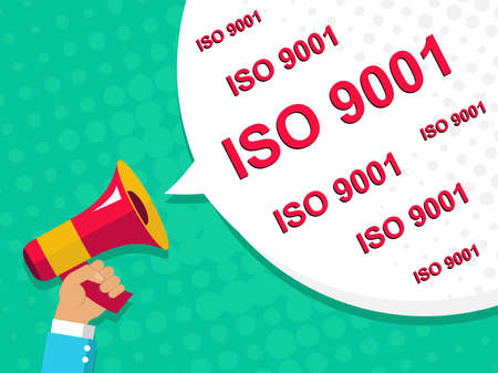 Flat illustration of megaphone with announce on the bubble speech ISO 9001. Loudspeaker vector symbol with text template. Pop art background.
