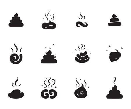 Semplici Poop Icone di diverse forme isolate su sfondo bianco Vettoriali