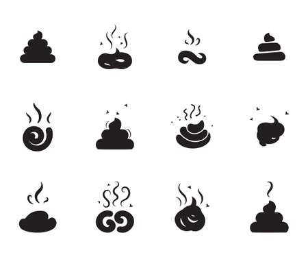 feces: Simple Poop Icons of Different Shapes Isolated On White Background