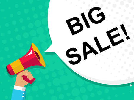 declare: Flat illustration of human hand holding megaphone with announce on the bubble speech BIG SALE. Loudspeaker vector symbol with text template. Spread news