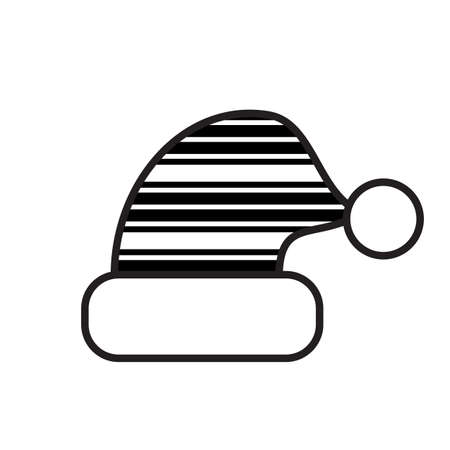 fur cap: Christmas Hat Black And White Icon Isolated. Santa Cap Symbol With Abstract Pattern.