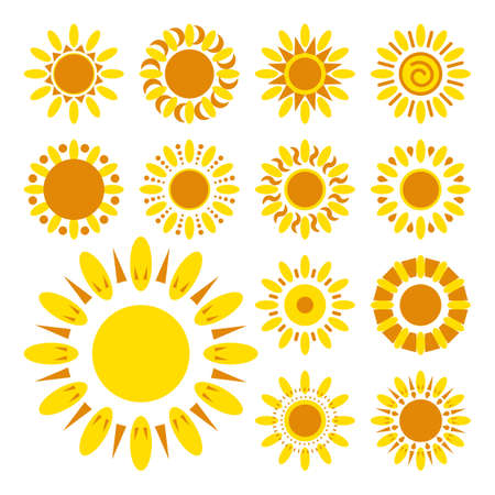 flower petals: Set of daisy icons isolated. Yellow silhouettes of vector flowers