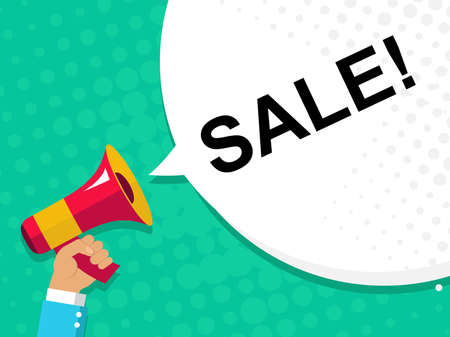 Flat illustration of human hand holding megaphone with announce on the bubble speech SALE. Loudspeaker vector symbol with text template. Spread news