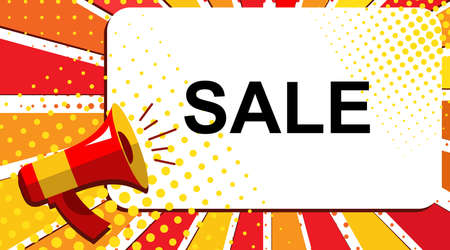 bomb price: Pop art sale background with megaphone and SALE announcement. Loudspeaker vector banner in flat style.