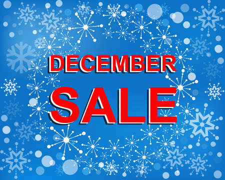 decembe: Big winter sale poster with DECEMBE SALE text. Advertising blue and red banner template