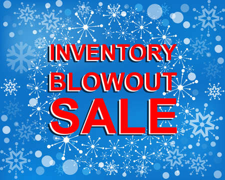 Big winter sale poster with INVENTORY BLOWOUT SALE text. Advertising blue and red banner template Illustration