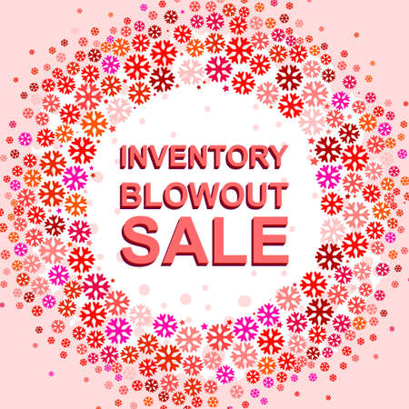 blowout: Big winter sale poster with INVENTORY BLOWOUT SALE text. Advertising pink and red banner template
