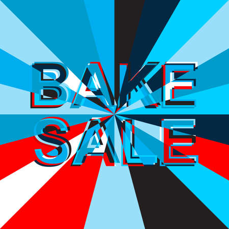 bake sale sign: Big ice sale poster with BAKE SALE text. Advertising blue and red banner template