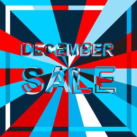 decembe: Big ice sale poster with DECEMBE SALE text. Advertising blue and red banner template Illustration
