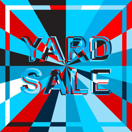 yard sale: Big ice sale poster with YARD SALE text. Advertising blue and red banner template Illustration