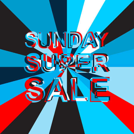 sunday market: Big ice sale poster with SUNDAY SUPER SALE text. Advertising blue and red banner template