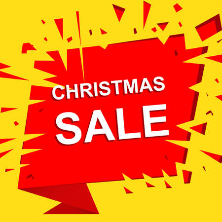 Big sale poster with CHRISTMAS SALE text. Advertising boom and red banner template Illustration