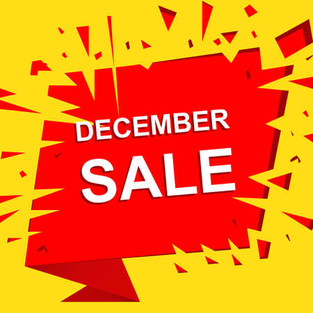 decembe: Big sale poster with DECEMBE SALE text. Advertising boom and red banner template Illustration