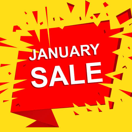 Big sale poster with JANUARY SALE text. Advertising boom and red banner template Ilustração
