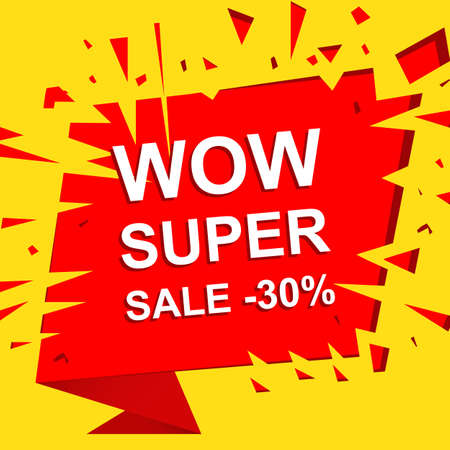 bomb price: Big sale poster with WOW SUPER SALE MINUS 30 PERCENT text. Advertising boom and red banner template Illustration