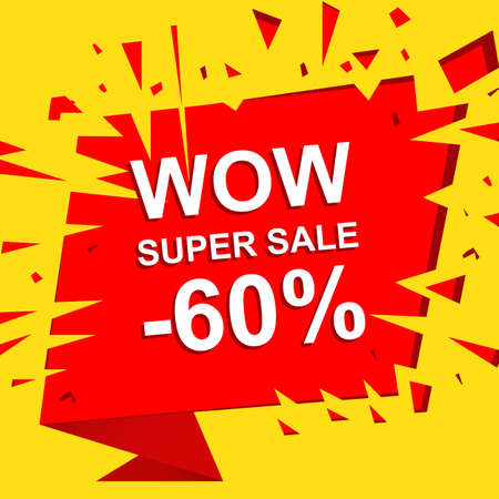 bomb price: Big sale poster with WOW SUPER SALE MINUS 60 PERCENT text. Advertising boom and red banner template