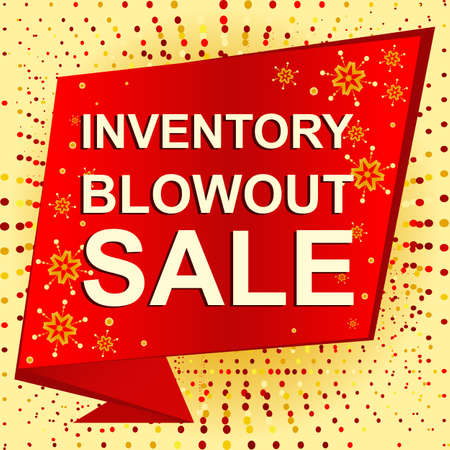 Big winter sale poster with INVENTORY BLOWOUT SALE text. Advertising banner template