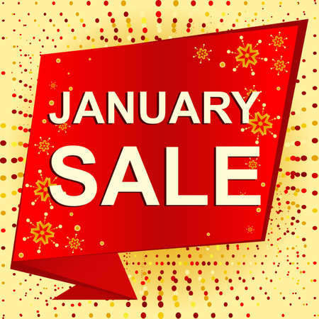Big winter sale poster with JANUARY SALE text. Advertising banner template