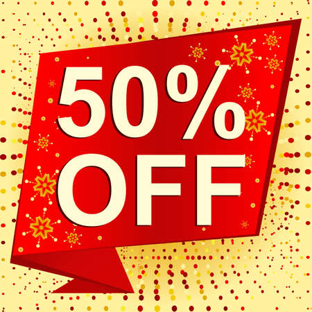 limited: Big winter sale poster with 50 PERCENT OFF text. Advertising banner template
