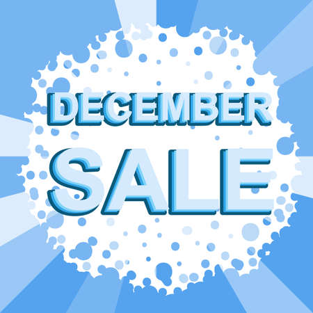 decembe: Big winter sale poster with DECEMBE SALE text. Advertising blue banner template
